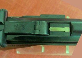 Luger 24.1 Diferença na cabeça do ferrolho e do extrator da Old Modele da New Model
