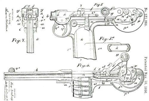 Luger 6 Patente de um protótipo de Borchardt datada de 1896