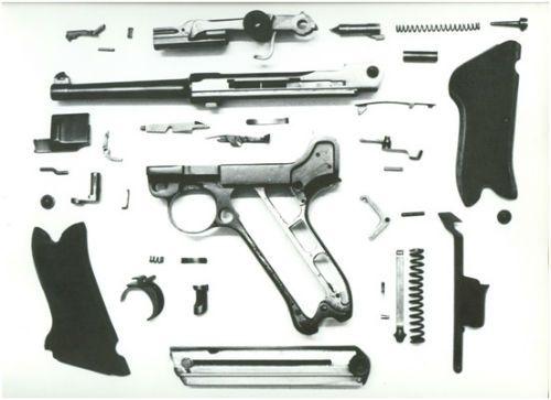 47. Vista explodida de uma 1906 em calibre 765mm com trava de empunhadura somente o conjunto da ação de joelho permaneceu montado o que é aconselhável