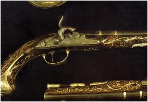 12. Par de pistolas de percussão inglêsas feitas pelo armeiro John Harman