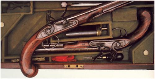 13. Caixa com par de pistolas de pederneira fabricação inglêsa de 1780 com todos os acessórios