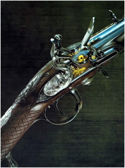 9. Um exemplo num belíssimo fecho flintlock fabricado pelo britânico Patrick Ferguson