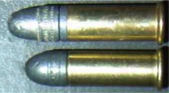 2 diferença entre .22 Long cartucho inferior e o .22 Long Rifle cartucho superior