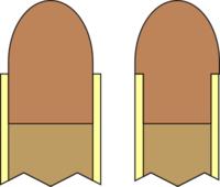3 Diferença entre um cartucho normal e um com sistema heeled bullet